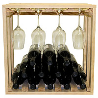 Allavino Pronto 12 Bottle Wine Rack Pine Lattice Stackable Stemware Cube PRL3012S