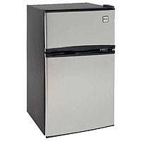 LAST ONE! 3.1 CF Two Door Counterhigh Refrigerator - Black with Stainless Steel Doors