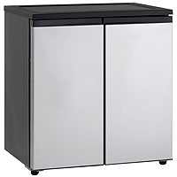 5.5 Cu. Ft. Side-by-Side Refrigerator/Freezer - Black Cabinet with Platinum Doors