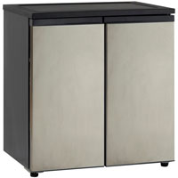 5.5 Cu. Ft. Side-by-Side Refrigerator/Freezer - Black Cabinet with Stainless Steel Doors