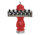 Silva Ceramic Six Faucet Draft Beer Tower - Red with Chrome Accents