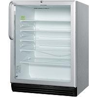 5.5 cf Glass Door All Refrigerator - Stainless Steel