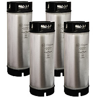 5 Gallon Ball Lock Kegs - Rubber Handle - NSF Approved - Set of 4
