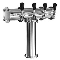 Stainless Steel Terra-4 4 Faucet Draft Beer Tower - 3.3 Inch Column - Glycol Cooled