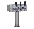 Kegco TTOW-3F-BRUSH Brushed Stainless Steel T-Style 3 Faucet Tower - 3