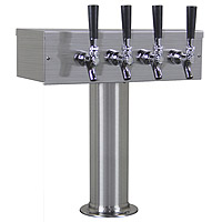 Inventory Reduction - Brushed Stainless Steel T-Style Beer Tower - 4 Chrome Faucets with Stainless Steel Levers