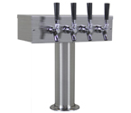 Kegco TTOW-4F-BRUSH Brushed Stainless Steel T-Style 4 Faucet Beer Tower - 3