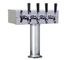 Kegco TTOW-4F-SS Polished Stainless Steel T-Style 4 Faucet Tower - 3 Inch Column