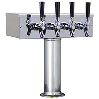 CHROME FAUCETS & SS LEVERS INCLUDED - Polished Stainless Steel T-Style Tower 4 Taps