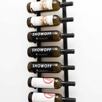 3' Wall Mount 9 Bottle Wine Rack - Brushed Nickel Finish