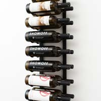 3' Wall Mount 18 Bottle Wine Rack - Black Chrome Finish