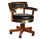 Harley-Davidson® HDL-13140-H -  Bar & Shield Flames Poker Chair - Heritage Brown/Brass Accents