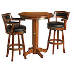 Harley-Davidson® HDL-13201-H - Bar & Shield Flames Pub Table & Backrest Stool Set - Heritage Brown