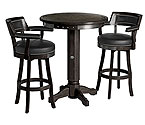 Harley-Davidson® HDL-13201-V - Bar & Shield Flames Pub Table & Backrest Stool Set - Vintage Black
