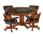 Harley-Davidson HDL-13300-H - Bar & Shield Flames Poker Table & Chairs Set - Heritage Brown