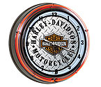 Harley-Davidson HDL-16611 - Bar & Shield Diamond Plate Double Neon Clock