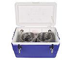 CB482 - Double Faucet Jockey Box - 48 Qt., Two 120' SS Coils - Blue