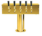 DS-255-PVD PVD Brass Five Faucet T-Style Draft Tower - 4 Inch Column