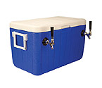 HDCP-D2-48 - Double Faucet Jockey Box - 48 Qt. Cold Plate Cooler - Blue