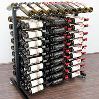 Free Standing 180 Bottle Island Display Wine Rack - Satin Black Finish