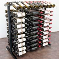 Free Standing 180 Bottle Island Display Wine Rack - Satin Black Finish