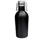 Kegco GR32DW-BL Beer Growler - 32 oz Double Wall Stainless Steel with Black Finish Flip Top