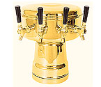 MTB-4BR Brass 4-Faucet Mushroom Draft Beer Tower - 7-1/2