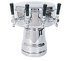 MTB-4PSS Chrome 4-Faucet Mushroom Draft Beer Tower - 7-1/2