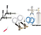 Kegco Premium Two Faucet Door Mount Kegerator Keg Tap Conversion Kit