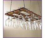 Oak Hanging Wine Glass Rack