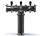 TR230-4 Stainless Steel Terra-4 4 Faucet Draft Beer Tower - 3.3 Inch Column - Glycol Cooled