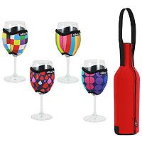 Vino Hug Wine Glass Sleeves & Wine Bottle Slip Gift Set - Patterned