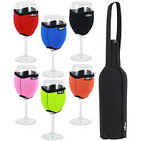 Vino Hug Wine Glass Sleeves & Wine Bottle Slip Gift Set - Solid