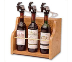 WineKeeper The Vintner 3 Bottle Wine Dispenser Preservation - Oak Cabinet
