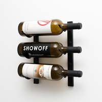1' Wall Mount 3 Bottle Wine Rack - Brushed Nickel Finish