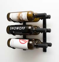 1' Wall Mount 6 Bottle Wine Rack - Black Pearl Finish