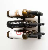 1' Wall Mount 9 Bottle Wine Rack - Satin Black Finish
