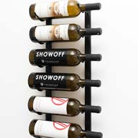 2' Wall Mount 6 Bottle Wine Rack - Brushed Nickel Finish