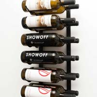2' Wall Mount 12 Bottle Wine Rack - Satin Black Finish