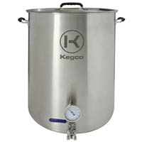 Inventory Reduction - Brew Kettle - 8 Gallon - Thermometer & 3-Piece Ball Valve