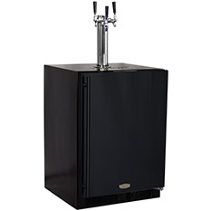 Kegerator Cabinet with X-CLUSIVE 3 Faucet Home Brew Keg Tapping Kit - Black
