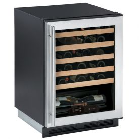 Enlarge U-Line 1175WCS-00 1000 Series 48 Bottle Wine Cellar - Black Cabinet with Stainless Steel Glass Door - Field Reversible