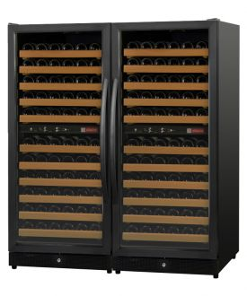 Enlarge Allavino 2X-MWR-1212-BB-C 222 Bottle Multi-Zone Wine Cellar Refrigerator - Black Cabinet and Doors