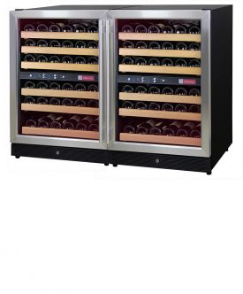 Enlarge Allavino 2X-MWR-542-SS 102 Bottle Multi-Zone Wine Cellar Refrigerator - Black Cabinet with Stainless Doors