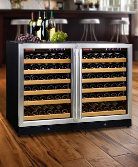 Enlarge Allavino 2X-MWR-541-SS 102 Bottle Dual Zone Wine Cooler Refrigerator - Black Cabinet with Stainless Steel Doors