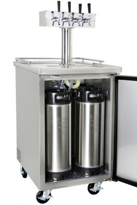Four Tap Commercial Grade Home Brew Kegerator With Kegs