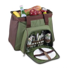 Enlarge Toluca Insulated Cooler with Service for 2 - Pine Green