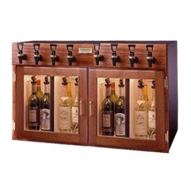 Enlarge WineKeeper 4x4-M2RN - Napa 8 Bottle 4 Red 4 White Wine Dispenser Preservation Unit - Mahogany