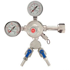 Enlarge Kegco 542-2 - Premium Pro Series Double Gauge Kegerator Regulator w/ Two Product Out
