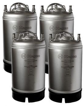 Enlarge Kegco Home Brew Beer Kegs - Ball Lock 3 Gallon Strap Handle - Set of 4